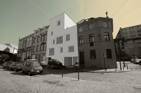 vue de la façade rue des logements Terre Neuve